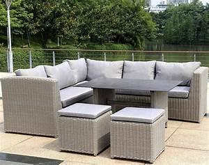 Polyrattan Lounge Sessel : zebra tara dining lounge couch ecke tisch 130x90cm art jardin ~ Orissabook.com Haus und Dekorationen