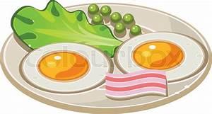 Tasty Cartoon Breakfast with Bacon, Fried Eggs and Lettuce ...