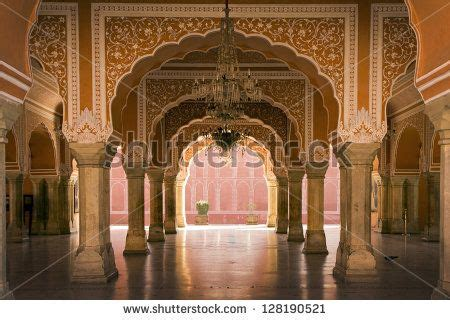 royal interior in Jaipur palace India stock photo