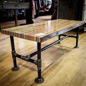 Recycled skateboard coffee table butcher block by