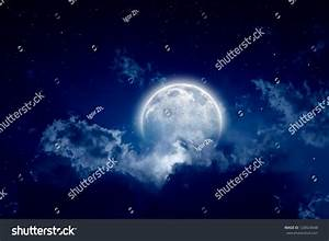 Peaceful Background Night Sky Full Moon Stock Illustration ...