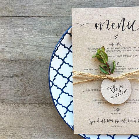 wedding menu vintage kraft natural rustic twine name tag