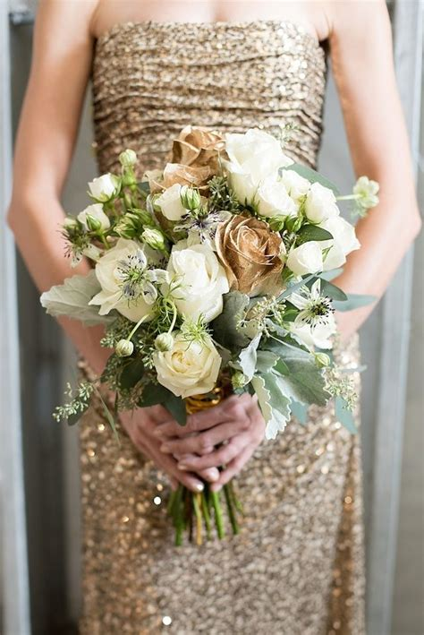 industrial glam  bouquets wedding flowers gold