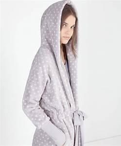 robe de chambre polaire capuche pois oysho With robe de chambre polaire junior
