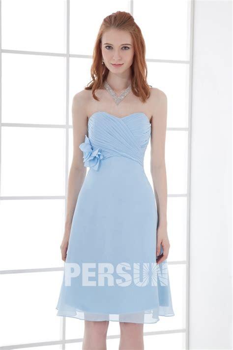 robe demoiselle d honneur bleu robe bleu pour demoiselle d honneur bustier coeur ruch 233 s orn 233 de fleur pour mariage
