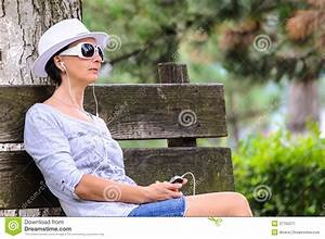 Blind Woman With Cellphone In Park Stock Image - Image ...