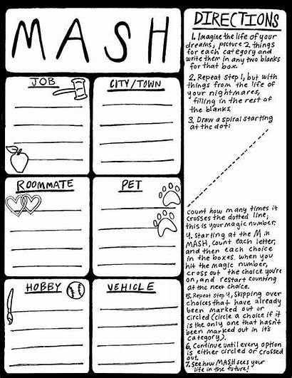 Mash Games Printable Sleepover Play Teen Fun