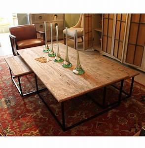 Dickens reclaimed wood modern large coffee table set for Reclaimed wood coffee table set