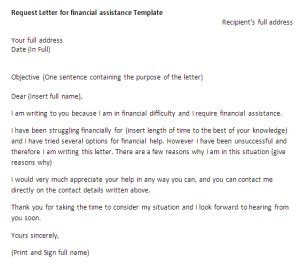 letter of financial support request letter for financial assistance request letter 10039