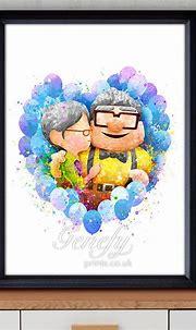 Disney Pixar Up Carl y Ellie acuarela Poster impresión ...