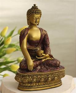 Nepali Buddha Statue in Earth Touching Pose, Gold Colored