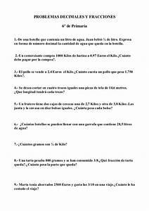 Problemas De Matematicas Decimales Y Fracciones 6 U00ba De Primaria