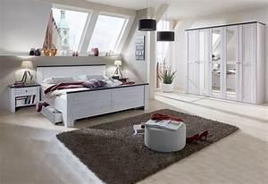 Bett Und Schrank : schlafzimmer kombi 2 chateau mit bett und nachtkommoden schrank in wei eiche ebay ~ Markanthonyermac.com Haus und Dekorationen