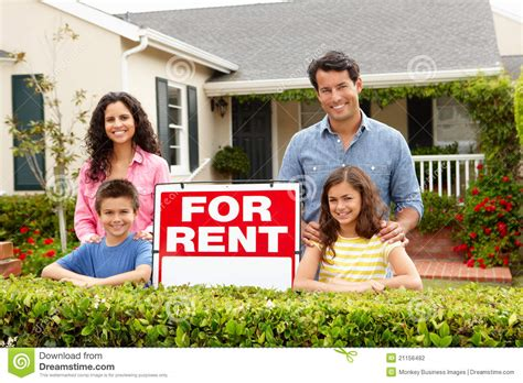 Hispanic Family Outside Home For Rent Stock Photo - Image ...