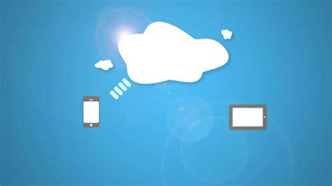 cloud storage animation  blue background motion