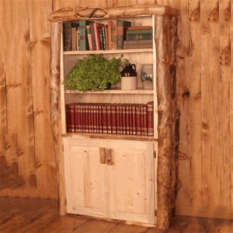 Log Bookcase by Aspen Log Bookcase With Doors