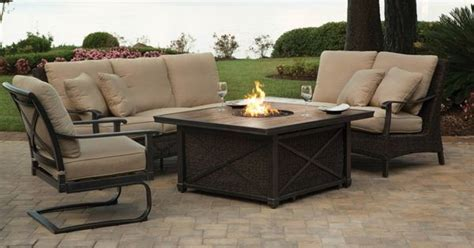 agio franklin outdoor sectional firepit set patio