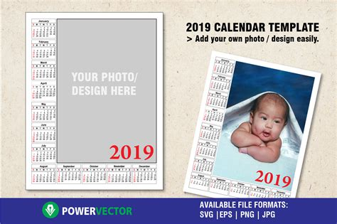 2019 Calendar Template To Add Your Own Photo Or Design