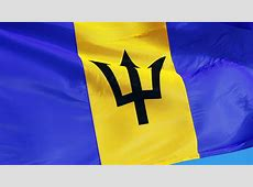 Fluttering Flag Of Barbados With Blue For Oceans, Gold For