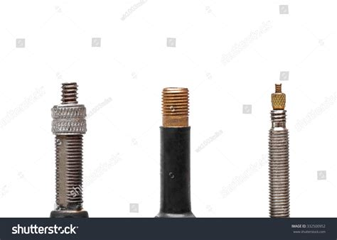 Different Types Bike Tyre Valves Isolated Stock Photo