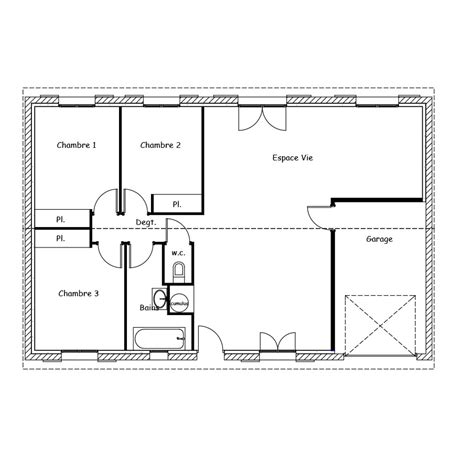 plan maison plain pied 3 chambres en l plan maison 120m2 plain pied harmonie plan de maison
