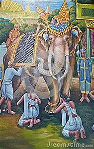 Elephant Painting On Wall In Temple Stock Images - Image ...