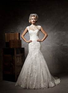 lace button high neck court train cap sleeve wedding dress With high neck lace wedding dress