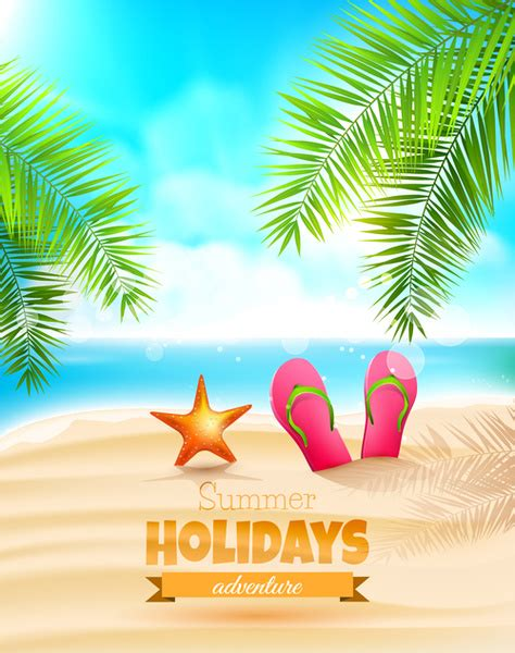 Tropical Summer Holidays Vector Background Art Free Vector