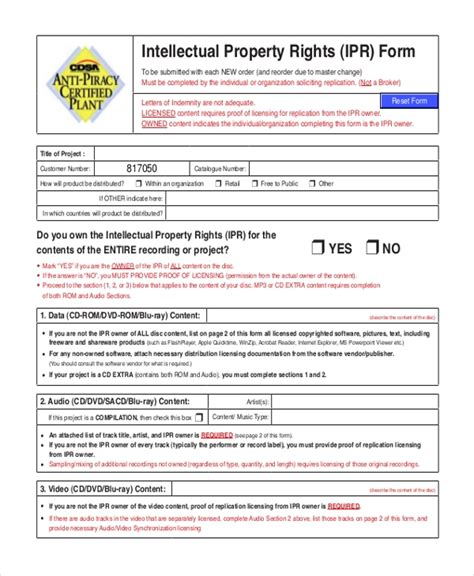 sample intellectual property forms   ms word