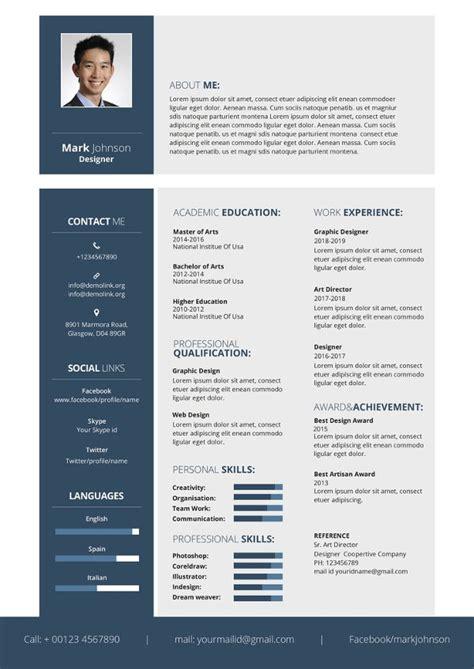designer resume template   word excel  format
