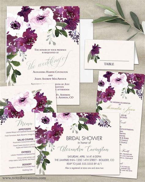 plum floral wedding invitations watercolor greenery purple