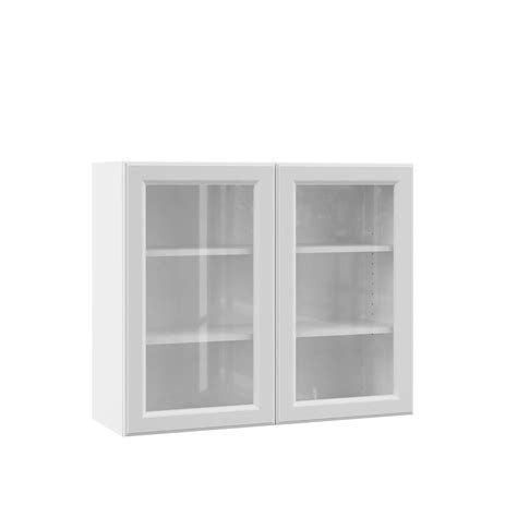 kitchen wall cabinets with glass doors hton bay designer series elgin assembled 36x30x12 in