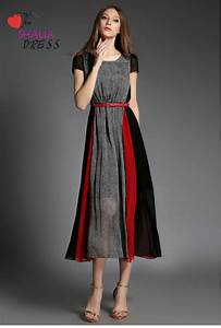 SH-020 Grey Black Red Striped Short Sleeve Maxi Dress ...