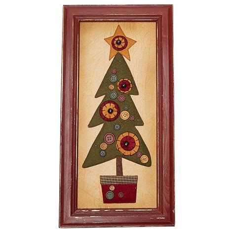 primitive framed fabric christmas tree wall art