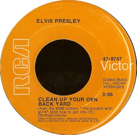 Elvis Clean Up Your Own Backyard by 45cat Elvis Clean Up Your Own Back Yard The