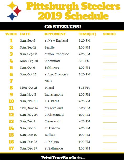 printable pittsburgh steelers schedule season
