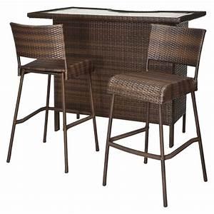 Rattan Bar Set : rolston 3 piece wicker patio bar set threshold target ~ Indierocktalk.com Haus und Dekorationen