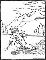 Skiing Mountains Colouring Drawing Kiddicolour Age sketch template
