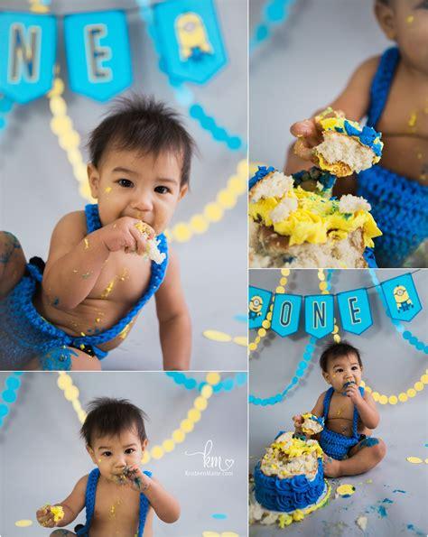 minion st birthday cake smash session kristeenmarie photo