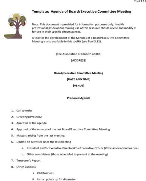 executive meeting agenda template