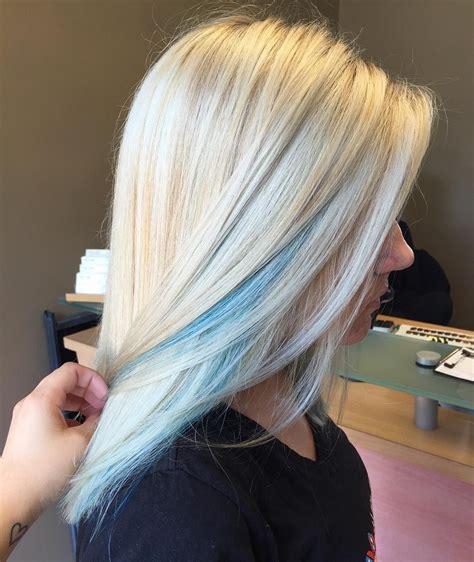 Mermaid Blue Peek A Boos On Icy Blonde Blonde Hair