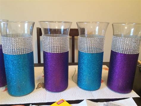 diy turquoise and purple wedding centerpieces my wedding