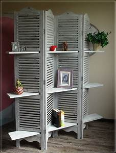 Regal Bauanleitung Holz : paravent lamellen holz grau regal raumteiler 4 fl gel ~ Michelbontemps.com Haus und Dekorationen