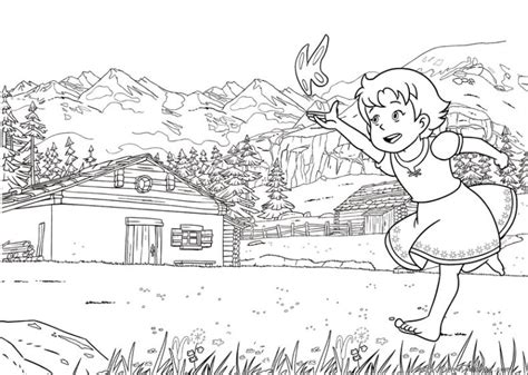 heldi girl   alps coloring pages    print