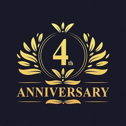 Anniversary Vector 4th Gold Clipart Vectors