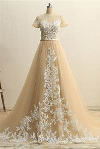 a line short sleeve champagne tulle ivory applique wedding With ivory champagne wedding dress