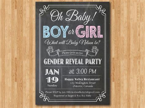 gender reveal invitation template  premium