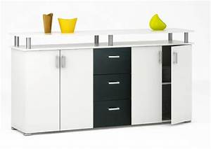 Bahut Noir Et Blanc : bahut 2 2 portes 3 tiroirs swift blanc noir mat ~ Teatrodelosmanantiales.com Idées de Décoration