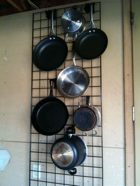 Kitchen Wall Rack Pots Pans by Kitchen Wall Grid Check For The Home Kitchen Wall