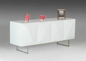 Modern white glossy buffet vg108 modern buffets stations for White modern buffet table